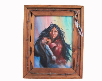 RAINBOW MAIDEN.. Original Oil ... Native American ...Frame included