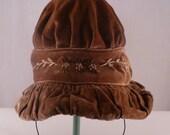 SALE 20% SAVINGS Victorian Velvet Hat  Light Brown Winter Embroidered Flowers Antique Vintage Rare