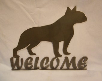 Metal Boston Terrier Puppy Welcome Sign