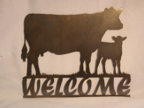 Cow & Calf Metal Welcome Sign