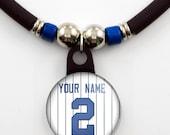 New York Personalized baseball jersey necklace, Cusomm Baseball Pendant Necklace, Baseball Team Pendant