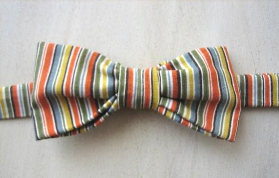 Little Man Bowtie-- Warm Stripe