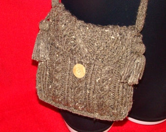 Comfy MESSENGER Bag with Knitted Handle Tassels Button Closure