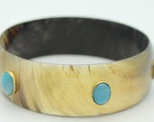 TRIZIA  Horn Bangle with Light Blue Agate Stones set in Bronze