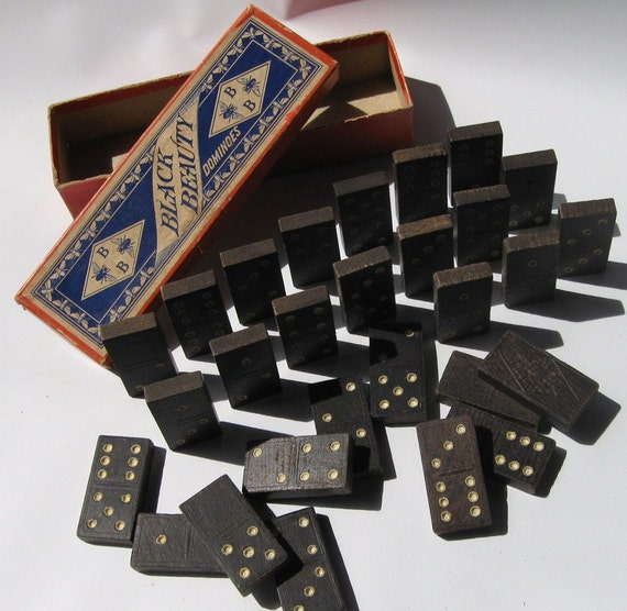 Antique Black Beauty Dominoes with Bees