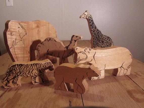 Wood Exotic Zoo Animal Toy Set