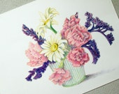 ORIGINAL Colored Pencil Study Carnations and Daisies