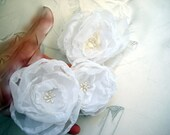 Trio Wedding Accessories Organza Fabric Roses  Set :make for wedding dress or hair flower