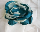 Large blue green Flower with Tulle and beads