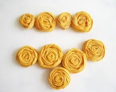 5 Mustard yellow Rolled Jarsey Roses Rosettes 4 sabby recyled fabric flower free