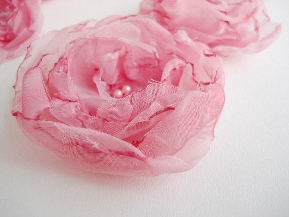Pastel Pink Rosettes Handmade Organza Fabric Flowers Aplique sewn Set of 6  pcs