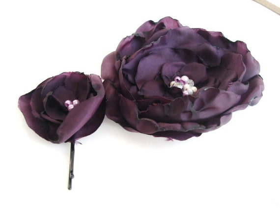 Purple small  hair flower and big flower brooch Set , floral hair accessory