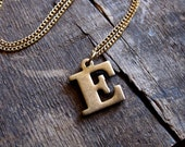 Vintage Brass E Initial Letter Necklace