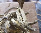 """Brooklyn """"Vintage"""" Razor Blade Engraved Necklace"""