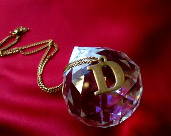 Vintage Brass D Initial Letter Necklace