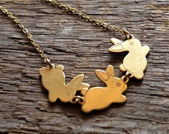 Three Bunny Friends Brass Charm Necklace