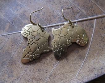 Africa Brass Charm Dangle Earrings