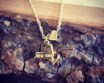 New York State Love - Gold Filled Chain and Gold Plated Charm Necklace