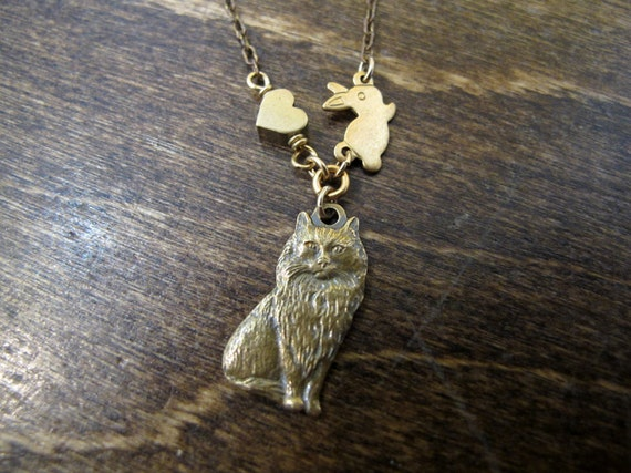 Bunny Loves Cat Necklace