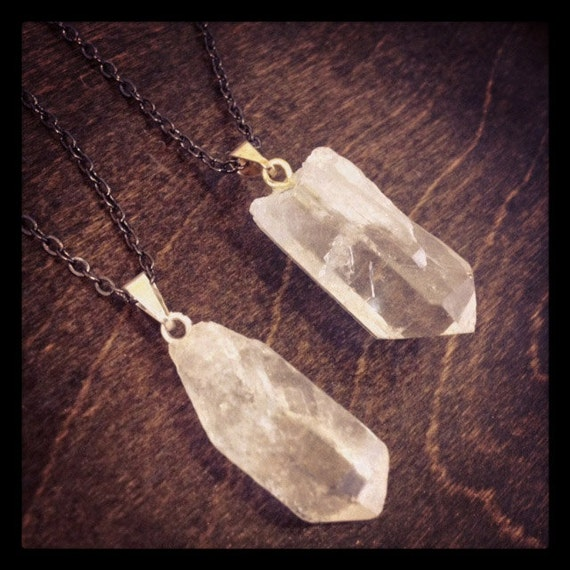 Pointed Crystal Quartz Necklace - Gunmetal Chain