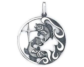 Pisces Zodiac Pendant  Sterling Silver 503-12