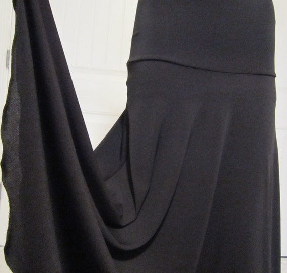 Lady's long, modest, Solid Black maxi knit  missionary, travel, or work skirt ,  size medium-large