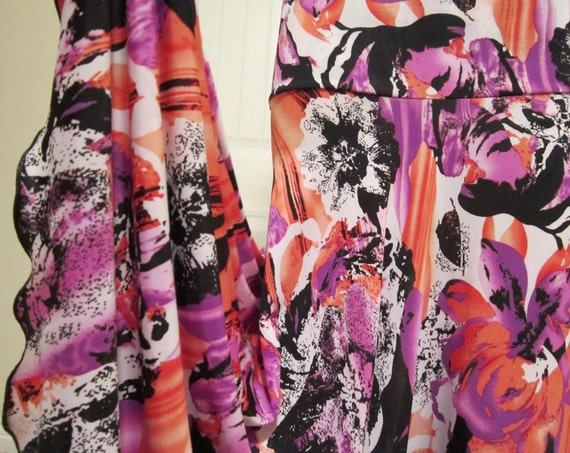 Ladies Long Modest Abstract Coral and Purple Print Stretch Knit Jersey Maxi Skirt for Missionary, Travel or Leisure Wear, s/m
