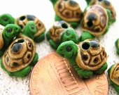 4 Tiny Green Turtle Beads