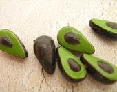 10 Tiny Avocado Beads - CB244