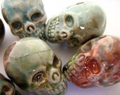 4 Large Raku Skulls - ceramic beads - RAK246