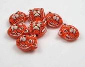 20 Tiny Tiger Head Beads