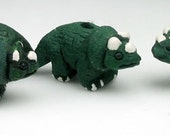 4 Tiny Ceramic Triceratops Beads - animal, charms, dinosaur, peruvian - CB217