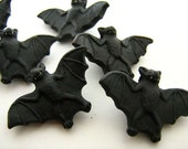4 Large Black Bat Beads - halloween, animal, ceramic, peruvian, holiday - LG140