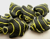 10 Large Yellow and Black Angel Fish Beads