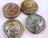 10 Raku Raven Pendants  - ceramic, animal, peruvian, bird, native american, crow - RAK308