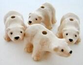 4 Large Polar Bear Beads  - ceramic bead, hand painted, animal beads, peruvian - LG575