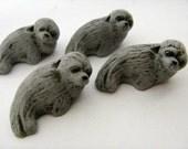 10 Large Seal Beads - Grey