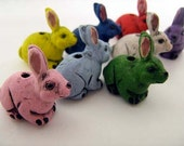 4 Large Rabbit Beads (mixed)