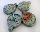 4 Raku Butterfly Pendants - beads - RAK166