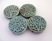 4 Raku Pentagram Beads - Peruvian, Ceramic, occult, pagan - HIFIRAK296