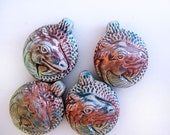4 Raku Round Dragon Head Pendants - Beads