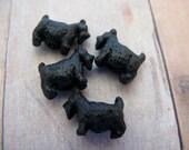 10 Tiny Black Scotty Dog Beads