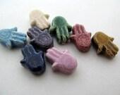 4 Tiny Hamsa Hand Beads - mixed - Ceramic Beads, Peruvian Beads, Body Beads, Colored hand beads, high fired hand beads -  CB691