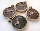 4 Highfired  Egyptian Anubis Pendants/Beads - Ceramic, Peruvian, dog, Mythological - HIFIRAK170