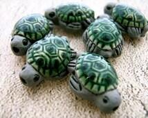 4 Ceramic Beads - Tiny Sea Turtle Beads - green and grey - CB17