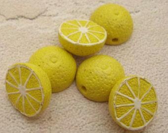4 Tiny Lemon Beads - CB387
