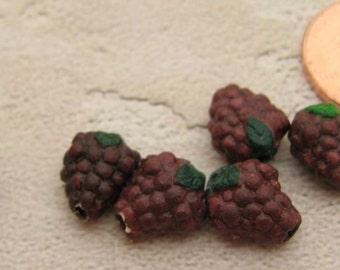 4 Tiny Purple Grape Beads - CB297