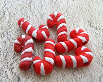 4 Tiny Candy Cane Beads