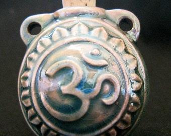 Raku Ceramic Bottle Bead - Om -