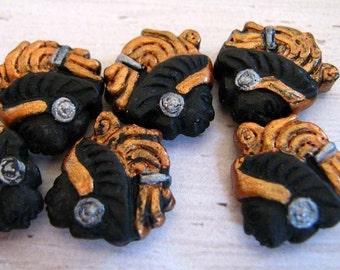 4 Tiny Aztec Warrior Beads - CB606